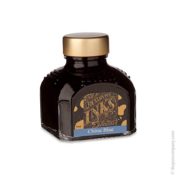 China Blue Diamine Bottled Fountain Pen Ink 80ml