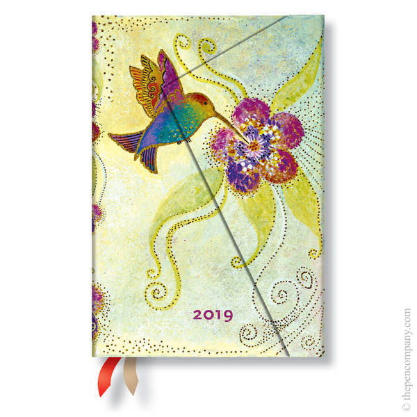 Mini Paperblanks Whimsical Creations 2019 Diary Hummingbird Horizontal Week-to-View
