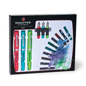 Multi-Coloured Sheaffer Calligraphy Maxi Kit Fountain Pen - F/M/B Stub Nib