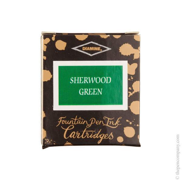 Sherwood Green Diamine Fountain Pen Ink Cartridges Pack of 6