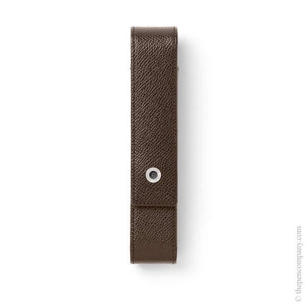 Dark Brown Graf von Faber-Castell Epsom Straight Pen Case for One