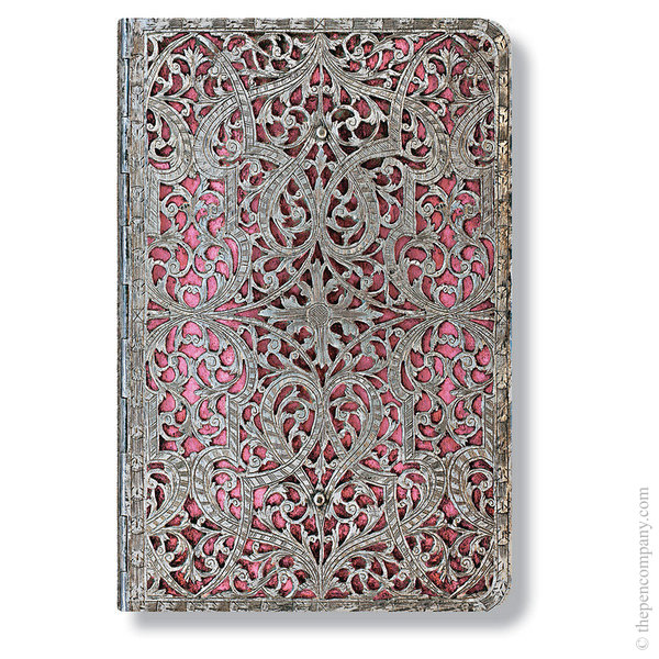 Mini Paperblanks Silver Filigree Address Book Blush Pink