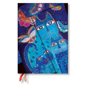 Midi Paperblanks Fantastic Felines 2020 Diary Blue Cats & Butterflies Vertical Week-to-View - 1