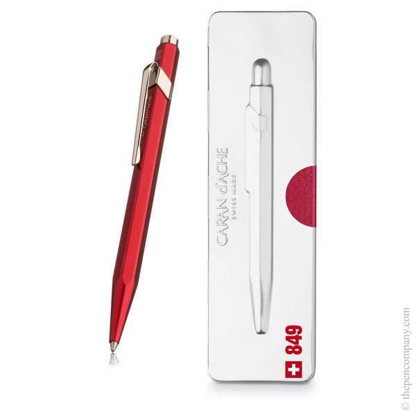 Red Caran d Ache 849 Metal-X Pop Line Ballpoint Pen
