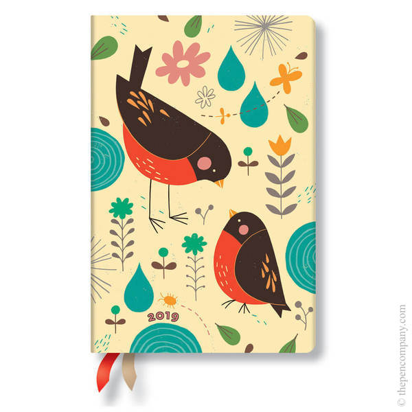 Mini Paperblanks Tracy Walker Animal Friends 2019 Diary Mother Robin Day-to-View