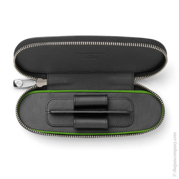 Black Bentley Leather Pen Case for Two