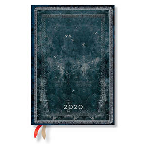 Midi Paperblanks Old Leather Classics 2020 Diary Midnight Steel Horizontal Week-to-View - 1