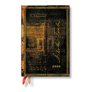 Mini Paperblanks Embellished Manuscripts 2020 Diary Tesla, Sketch of a Turbine Day-to-View - 1