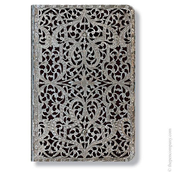 Mini Paperblanks Silver Filigree Address Book Shadow