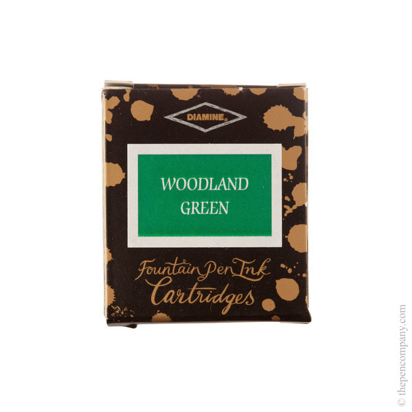 Woodland Green Diamine Fountain Pen Ink Cartridges Pack of 6