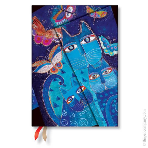 Midi Paperblanks Fantastic Felines 2019 Diary Blue Cats & Butterflies Horizontal Week-to-View