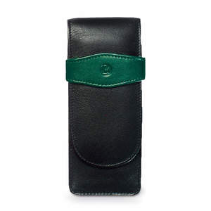 Black-Green Pelikan Pen Pouch Case for Three Pens