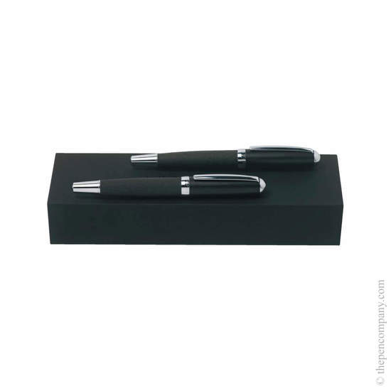 Dark Grey Hugo Boss Advance Fabric Ballpoint and Rollerball Set - 1