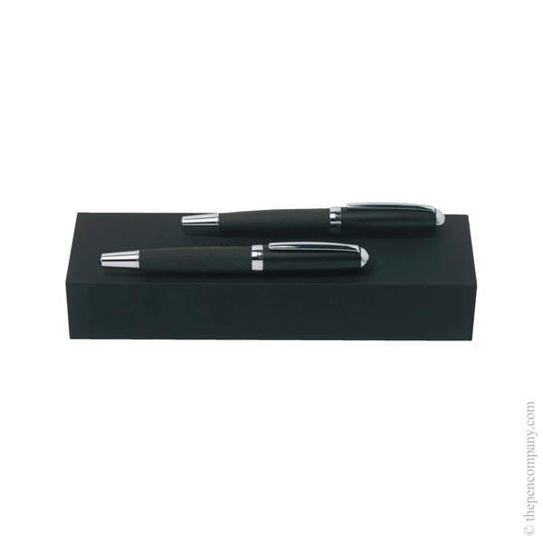 Dark Grey Hugo Boss Advance Fabric Ballpoint and Rollerball Set Set