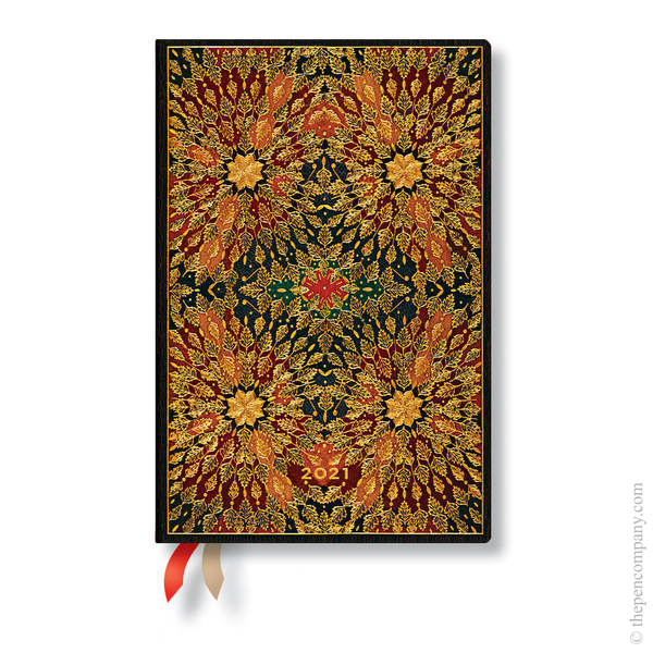 Mini Paperblanks Fire Flowers 2021 Diary 2021 Diary Verso Week-to-View