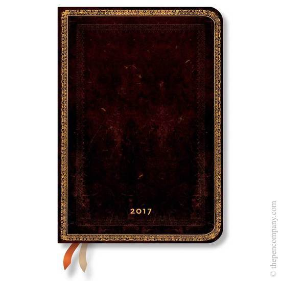 Paperblanks Midi Week-to-view Black Moroccan Old Leather 2017 Diary - 1