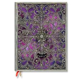 Paperblanks Ultra Week-to-view Aubergine Silver Filigree 2017 Diary - 1