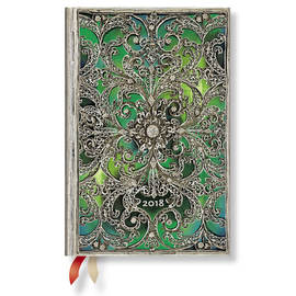 Mini Paperblanks Silver Filigree 2018 Diary Esmeralda Day-to-View - 1