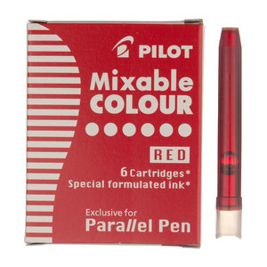 Red Parallel Pen Ink Cartridges Pack of 6 - 1