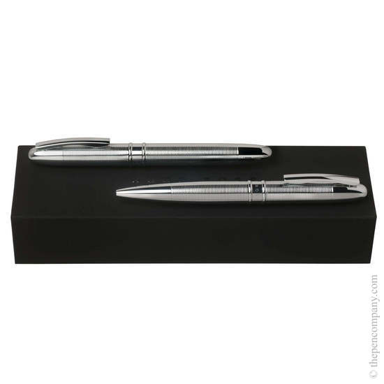 Chrome Hugo Boss Stripe Rollerball and Ballpoint Set - 1