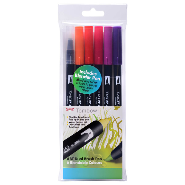 Sunset Tombow ABT Brush Pen Pack of 6