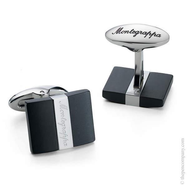 Black/Silver Montegrappa Rettangolo Cufflinks