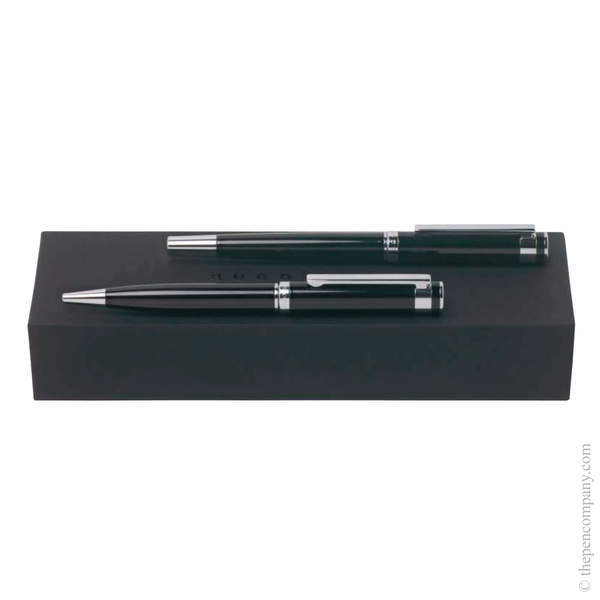 Classic Black Hugo Boss Caption Ballpoint and Rollerball Set