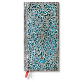 Paperblanks Slim Week-to-view Maya Blue Silver Filigree 2017 Diary - 1