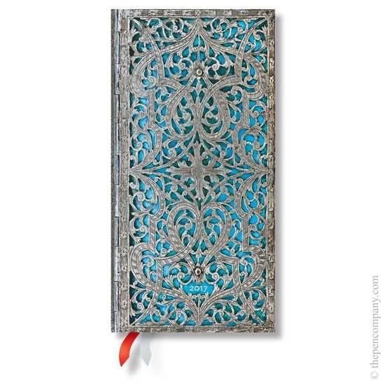 Paperblanks Slim Week-to-view Maya Blue Silver Filigree 2017 Diary - 1