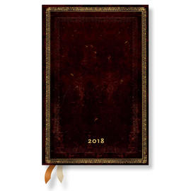Mini Paperblanks Old Leather 2018 Diary Black Moroccan Horizontal Week-to-View - 1
