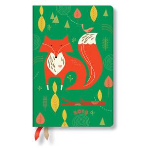 Mini Paperblanks Tracy Walker Animal Friends 2019 Diary Mister Fox Horizontal Week-to-View - 1
