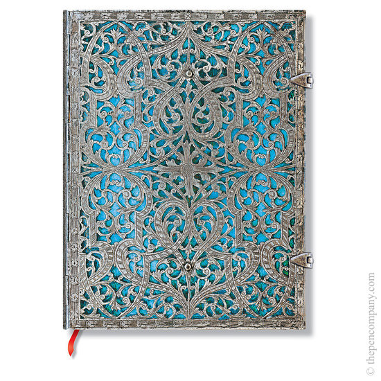 Lined Ultra Paperblanks Maya Blue Silver Filigree Journal - 1