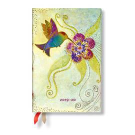 Mini Paperblanks Whimsical Creations 2019-2020 18 Month Diary Hummingbird Horizontal Week-to-View -