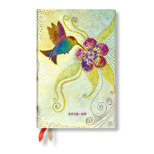 Mini Paperblanks Whimsical Creations 2019-2020 18 Month Diary Hummingbird Horizontal Week-to-View -