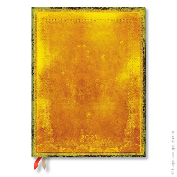 Ultra Paperblanks Old Leather Flexi 2021 Diary 2021 Diary Ochre Vertical Week-to-View