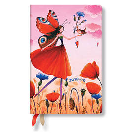 Mini Paperblanks Mila Marquis 2018-2019 18 Month Diary Poppy Field Horizontal Week-to-View - 1