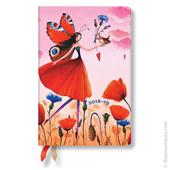 Mini Paperblanks Mila Marquis 2018-2019 18 Month Diary Poppy Field Horizontal Week-to-View - 1