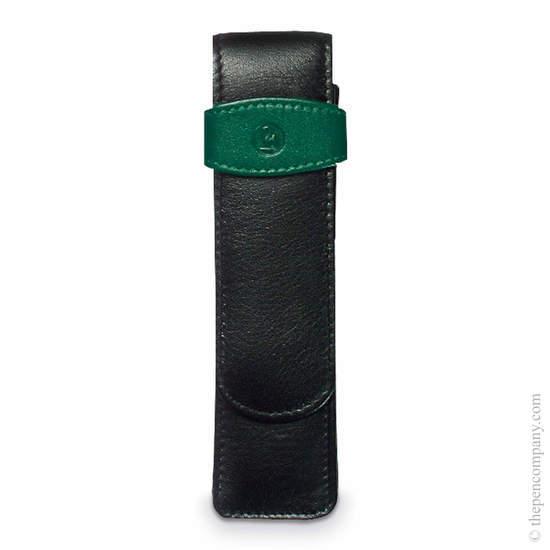 Black-Green Pelikan Pen Pouch Case for Two Pens - 1