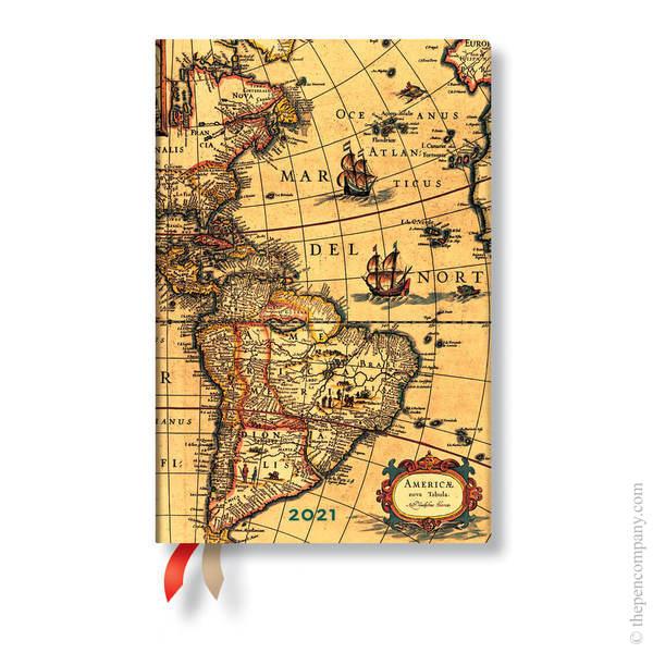 Mini Paperblanks Early Cartography Flexi 2021 Diary 2021 Diary Western Hemisphere Horizontal Week-to-View