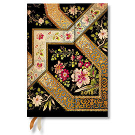Midi Paperblanks Lyon Floral 2018 Diary Filigree Floral-Ebony Horizontal Week-to-View - 1