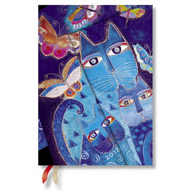 Midi Paperblanks Laurel Burch - Fantastic Felines 2018 Diary Blue Cats & Butterflies Horizontal Week