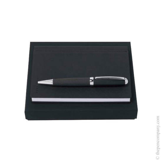 Dark Grey Hugo Boss Advance Ballpoint and Note Pad Set - 1