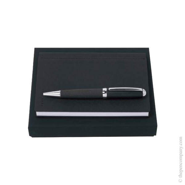 Dark Grey Hugo Boss Advance Ballpoint and Note Pad Set Set
