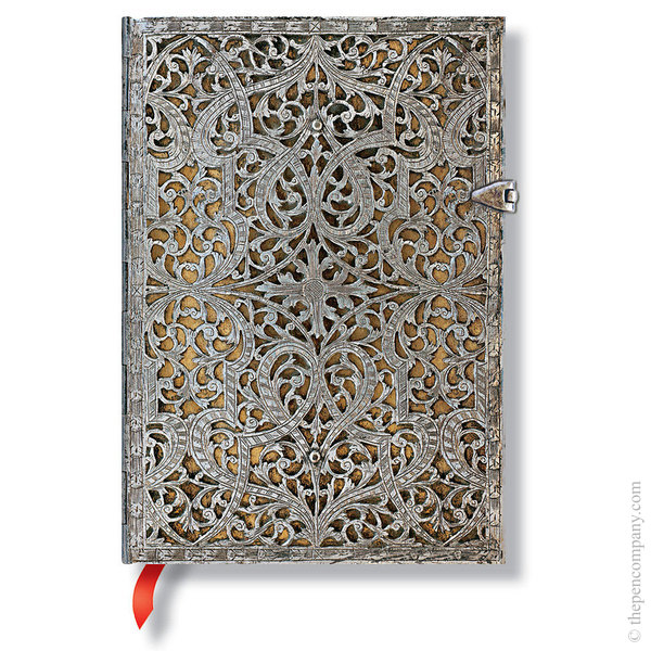Midi Paperblanks Silver Filigree Journal Natural Lined