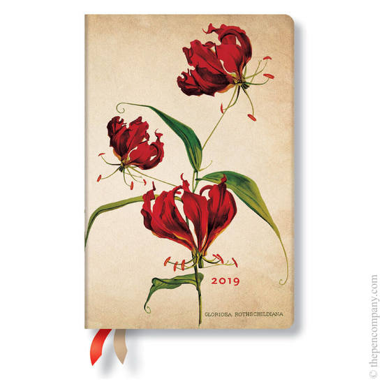 Mini Paperblanks Painted Botanicals 2019 Diary Gloriosa Lily Day-to-View - 1