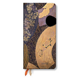 Slim Paperblanks Japanese Lacquer Boxes 2019 Diary Ougi Horizontal Week-to-View - 1