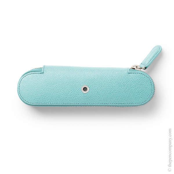 Turquoise Graf von Faber-Castell Epsom Zipper Pen Case for Two