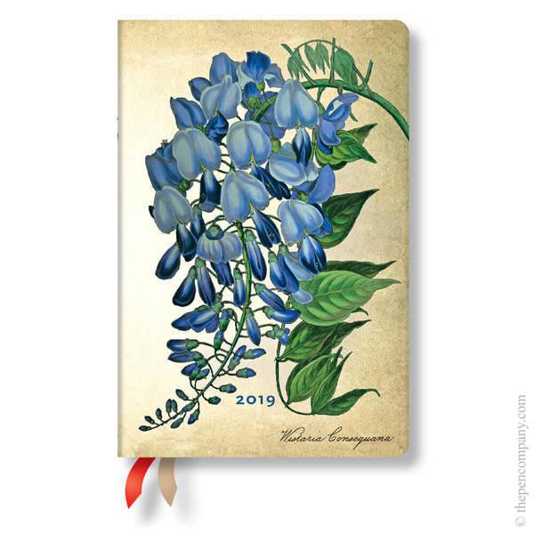 Mini Paperblanks Painted Botanicals 2019 Diary Blooming Wisteria Horizontal Week-to-View