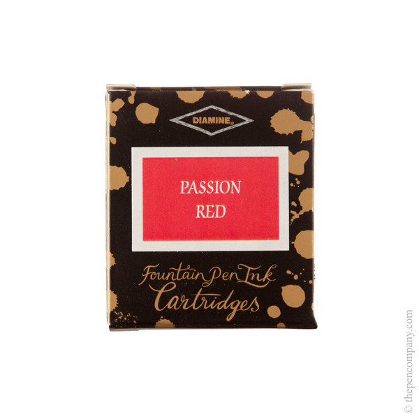Passion Red Diamine Fountain Pen Ink Cartridges Pack of 6