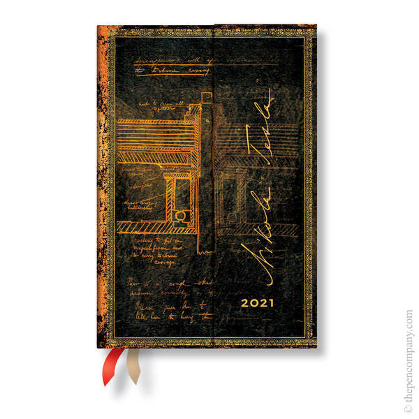 Mini Paperblanks Embellished Manuscripts 2021 Diary 2021 Diary Tesla, Sketch of a Turbine Day-to-View